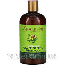 SheaMoisture, Power Greens, шампунь, моринга і авокадо, 384 мл (13 рідин та си. унцій)