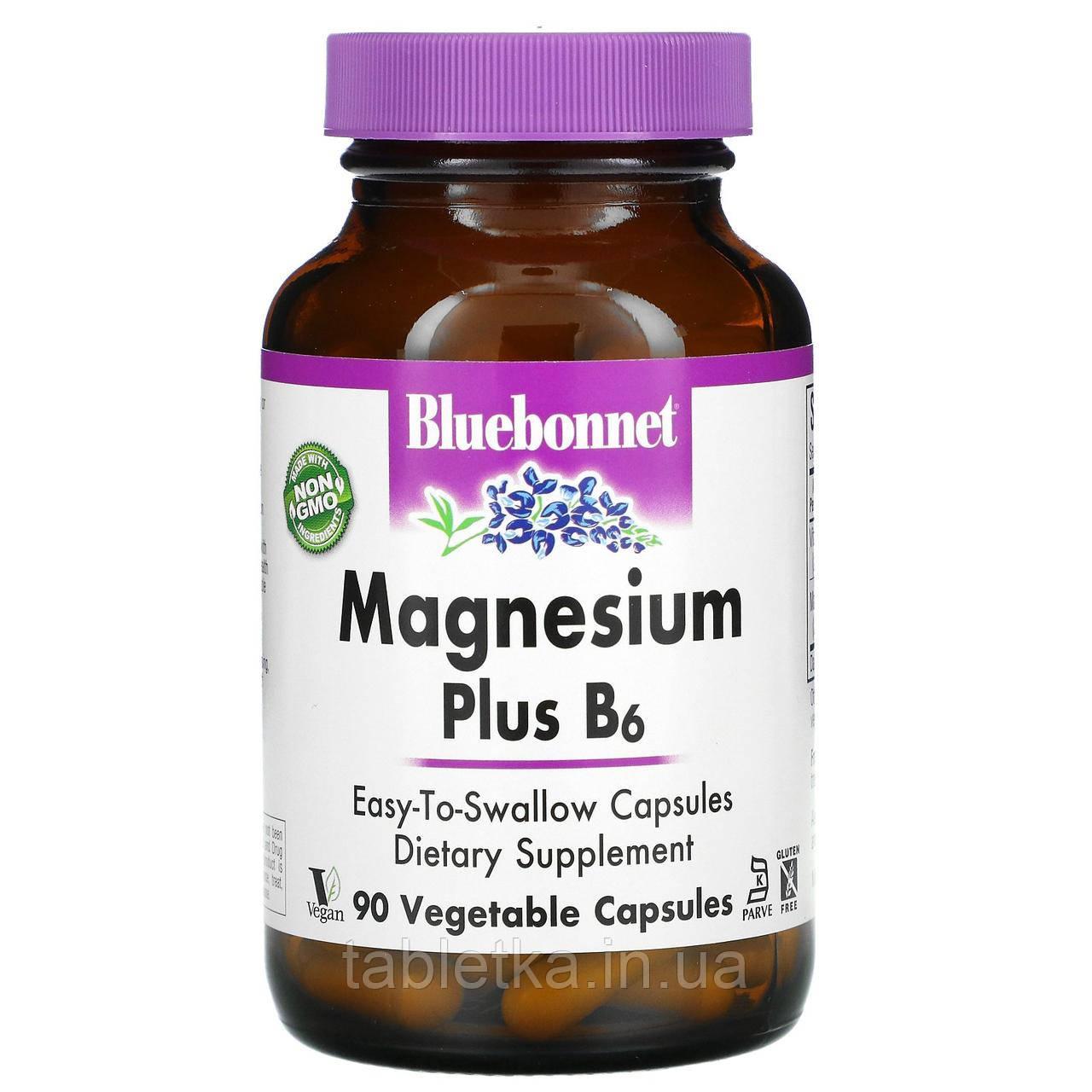 Bluebonnet Nutrition, магний и витамин B6, 90 вегетарианских капсул
