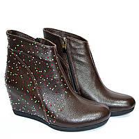 """Коричневые кожаные женские ботинки демисезонные. ТМ """"Maestro"""", фото 1"""