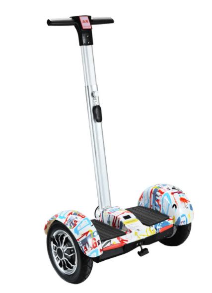 Гироскутер сігвей з ручкою SMART A8 10 дюймів Білий самобаланс | гироборд дитячий Смарт (Bluetooth колонка)