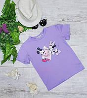 Подростковая футболка MICKEY&MINNIE для девочек 7-11 лет,цвет сиреневый
