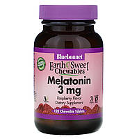 Bluebonnet Nutrition, Жевательные конфеты EarthSweet, мелатонин, натуральный малиновый вкус, 3 мг, 120,,