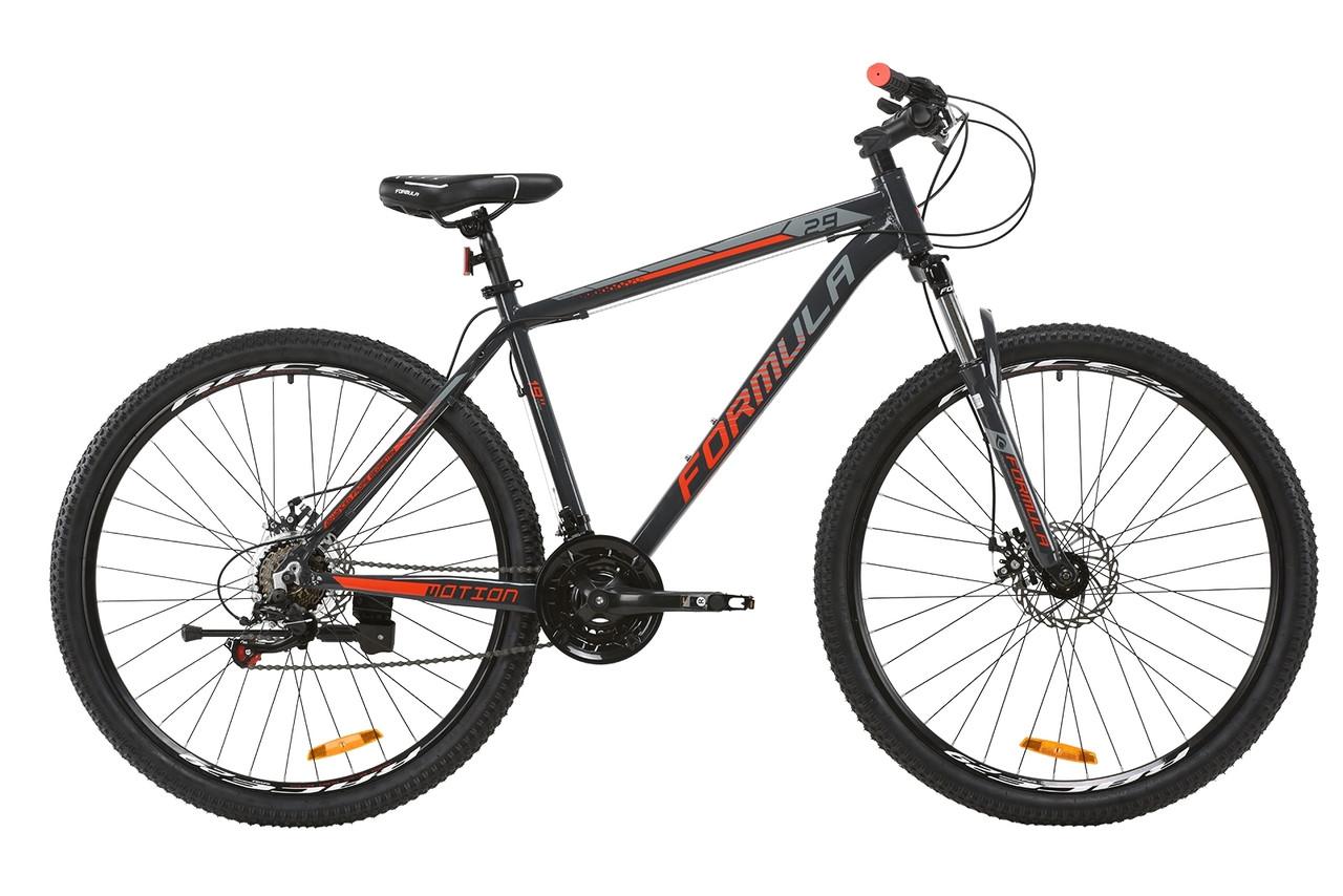 """Велосипед горный 29"""" Formula Motion DD 2020 рама  19"""" серый с красным"""