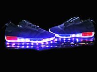 Кроссовки светящиеся синие ткань
