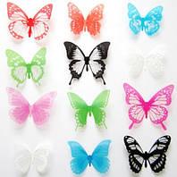 Бабочки 3D разноцветные с блёстками 3Д декор наклейки