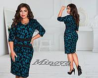 Красивое темно-зеленое платье батал с узором. Арт-3523/7. Платье больших размеров
