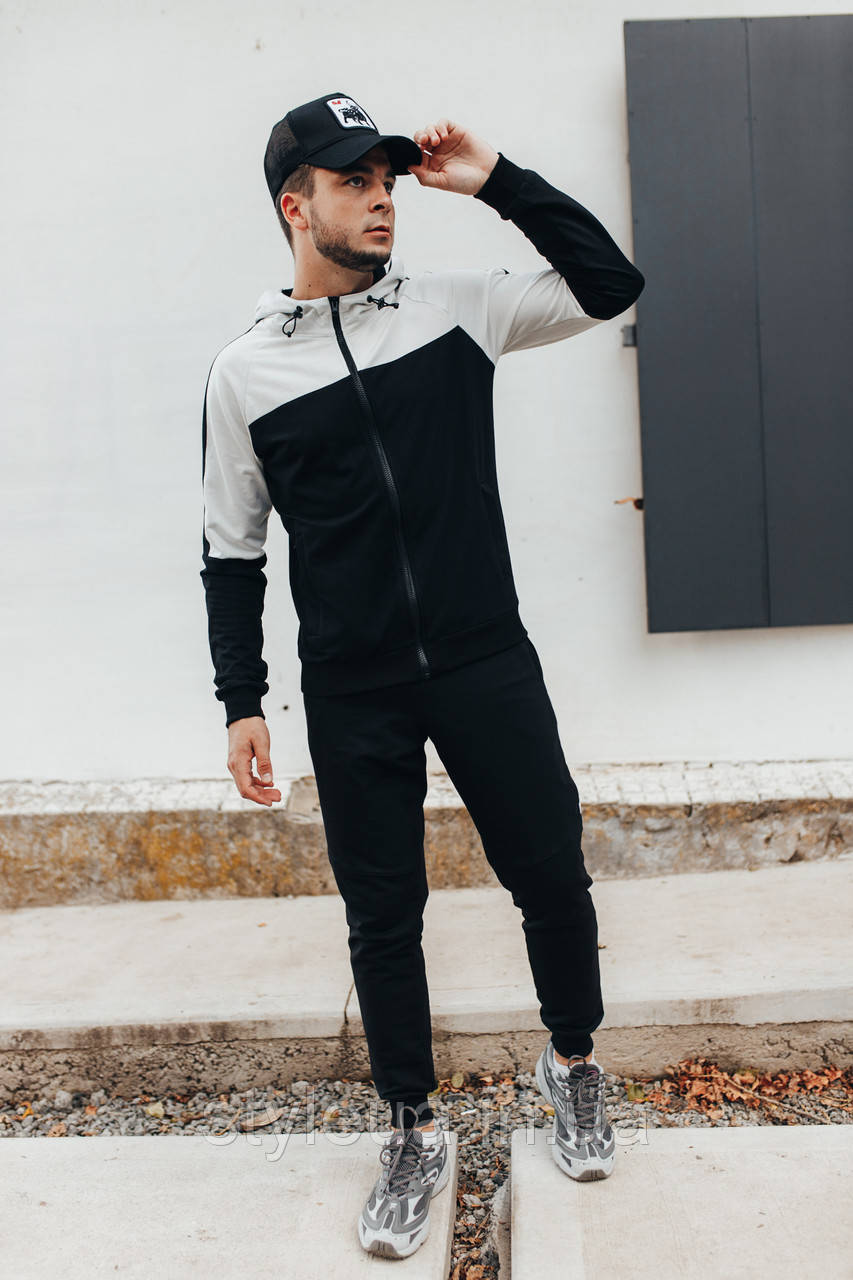 Молодіжний чоловічий трикотажний спортивний костюм SARMAT / Чорно білий спортивний костюм на змійці