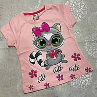 Детская трикотажная футболка для девочки Енотик 1-4 года, цвет уточняйте при заказе, фото 1
