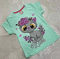 Детская трикотажная футболка для девочки Love 1-4 года, цвет уточняйте при заказе, фото 1