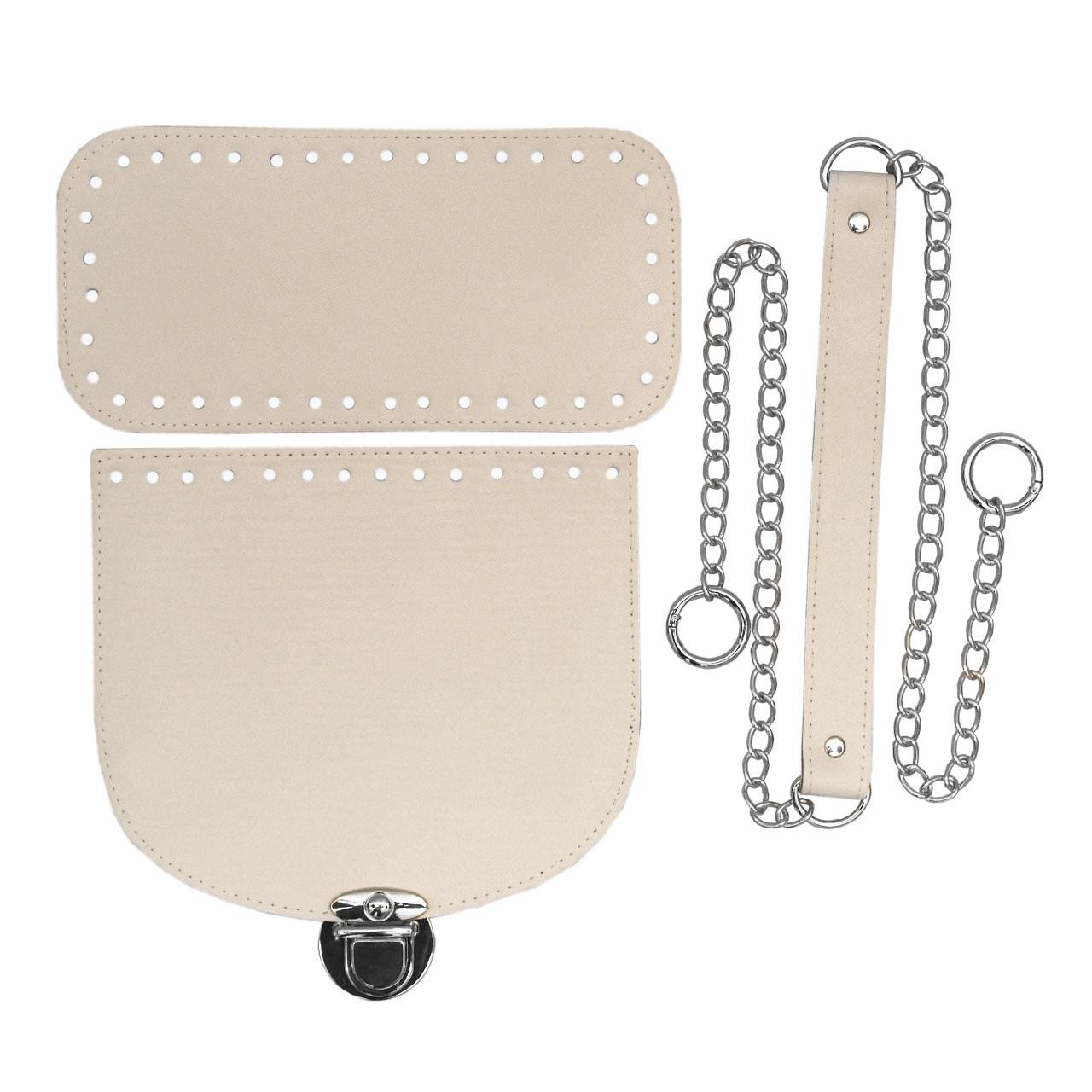 Набор для сумки экокожа Молочный (4 позиции) на цепочке с кольцами-карабинами фурнитура серебро
