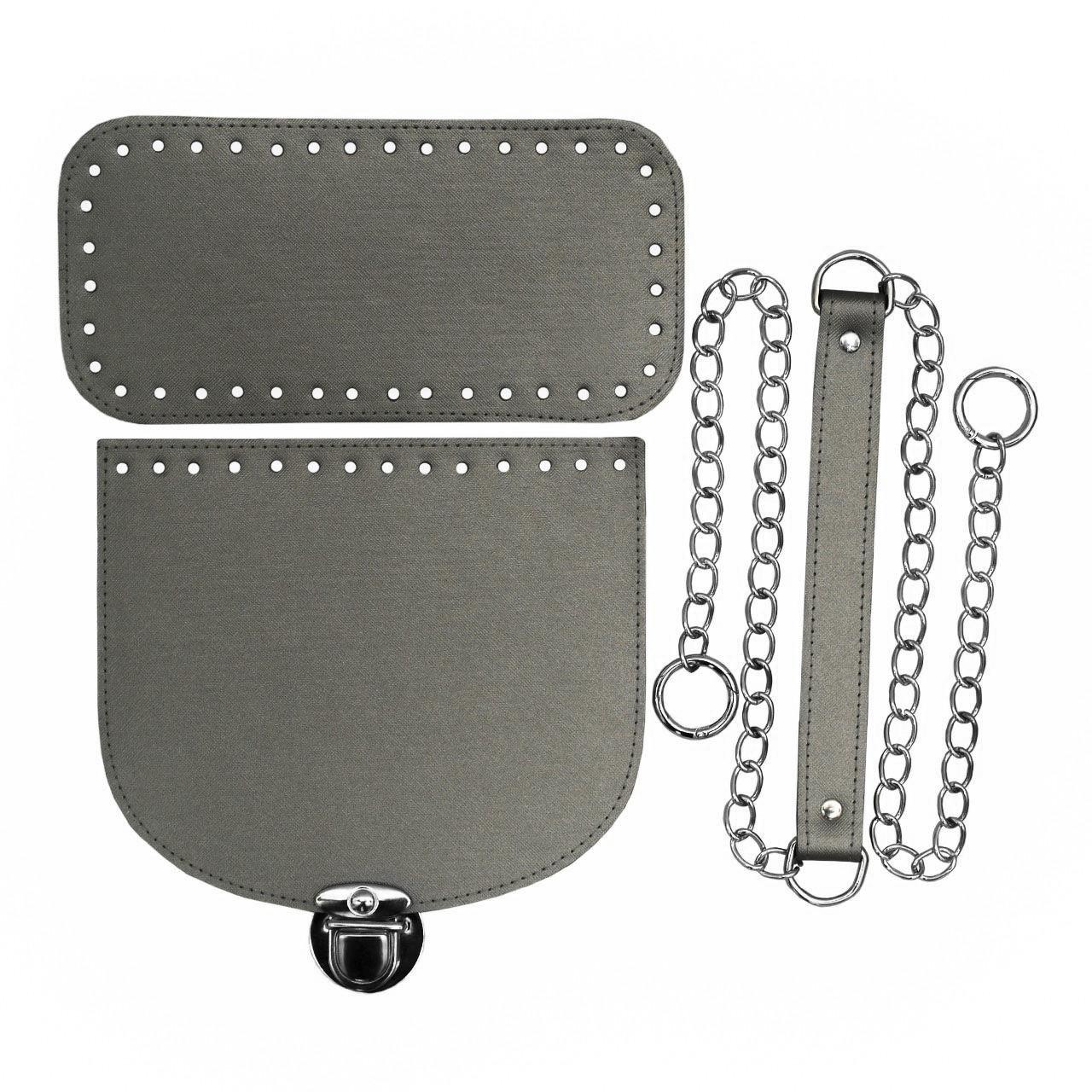 Набір для сумки екокожа Металік (4 позиції) на ланцюжку з кільцями-карабінами фурнітура срібло