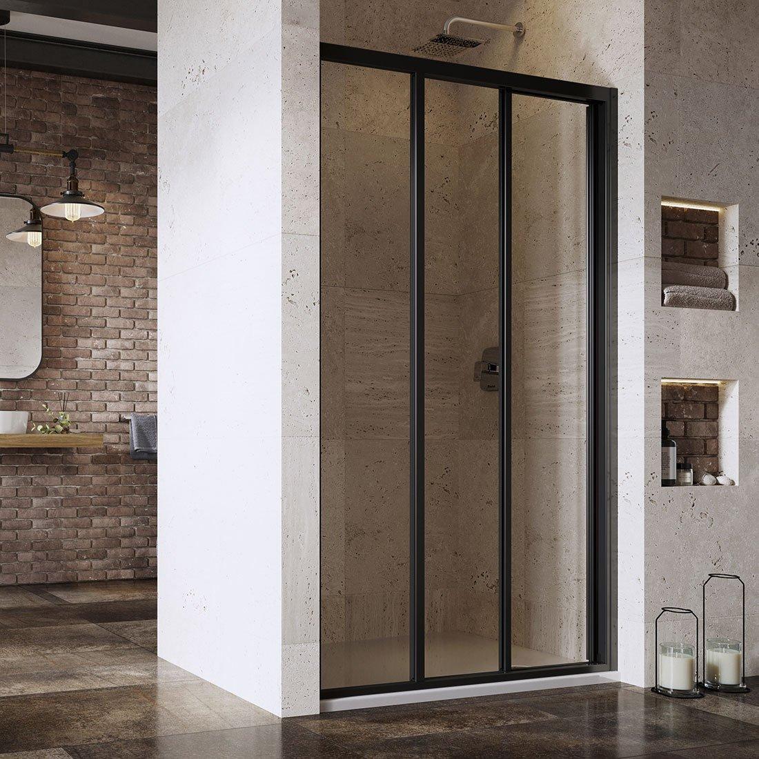 ASDP3-90 198 (Transparent) Black Душевая дверь