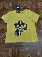 Детская трикотажная футболка Спантч Боб для мальчика 2-5 лет,цвет желтый
