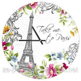 Годинники настінні круглі, 36 см Take me, to Paris