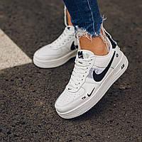 Кроссовки женские белые Nike Air Force 1 TM White Black Low Найк Аир Форс