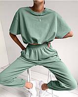 Женский костюм с укороченной футболкой оверсайз. Размер: 42-44, 46-48. Цвет: меланж, оливка, малина.