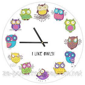 Годинники настінні круглі, 36 см I like owls!