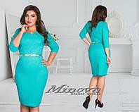 Красивое бирюзовое платье батал с пояском. Арт-3525/7. Платье больших размеров