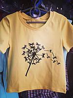 Подростковая футболка Одуванчик для девочек 7-12 лет,цвет уточняйте при заказе, фото 1