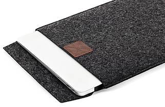 """Папка-конверт з повсті на липучці для MacBook 13.3"""" Dark gray (GM17)"""