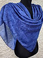 Женский хлопковый платок в этническом стиле цвет васильково-синий (цв.7)