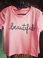 Подростковая футболка Beautyful для девочек 7-12 лет,цвет уточняйте при заказе, фото 1