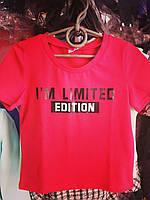 Підліткова футболка EDITION для дівчаток 7-12 років,колір малиновий