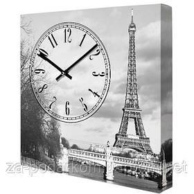 Годинники настінні квадратні, 35 см Ейфелева вежа