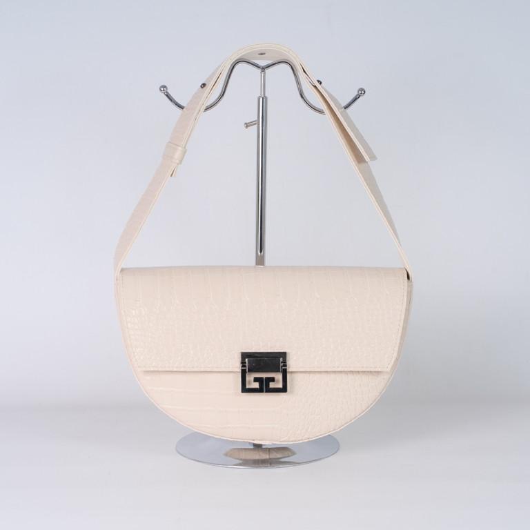 Светло-бежевая женская сумка-багет 18-21/2 с одной ручкой через плечо