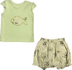 Летний костюм на девочку рост 62 2-3 мес для новорожденных комплект футболка и шорты детский лето салатовый