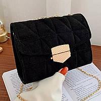 Женская винтажная сумочка кросс-боди черная с клапаном