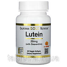 California Gold Nutrition, лютеин с зеаксантином, 20мг, 60растительных капсул