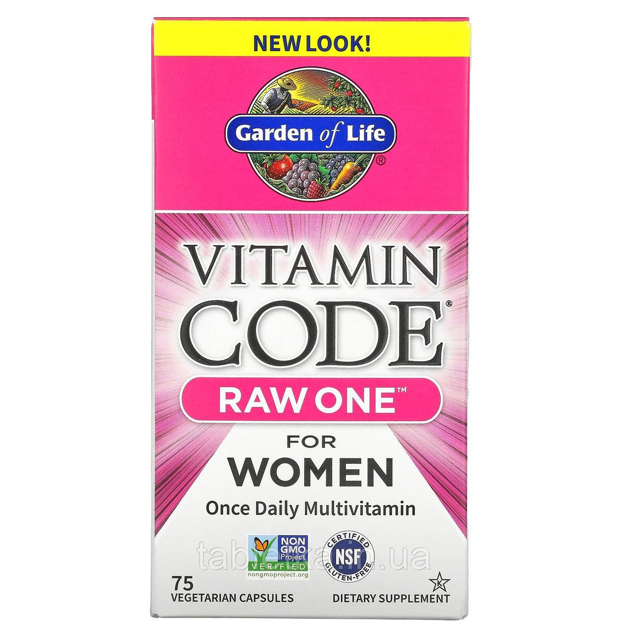 Garden of Life, Vitamin Code, RAW One, мультивитаминная добавка для женщин (для приема 1 раз в день),