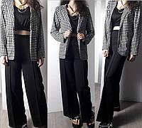 Стильный женский пиджак Гусиная лапка размер 42-48, цвет черный с белым
