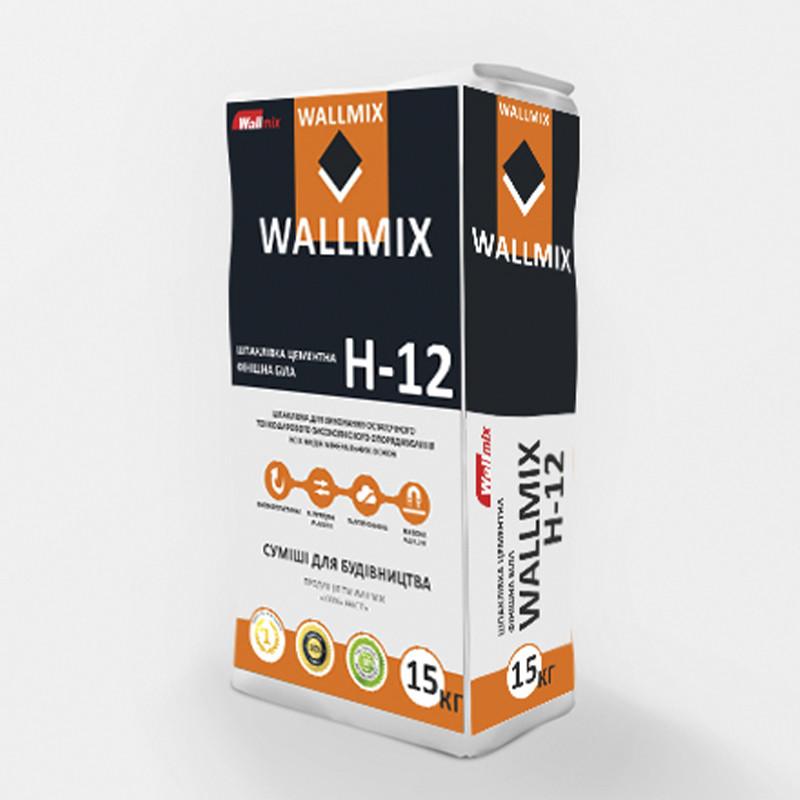 Финишная шпаклевка WALLMIX H-12 (Валлмикс) цементная белая (15кг)