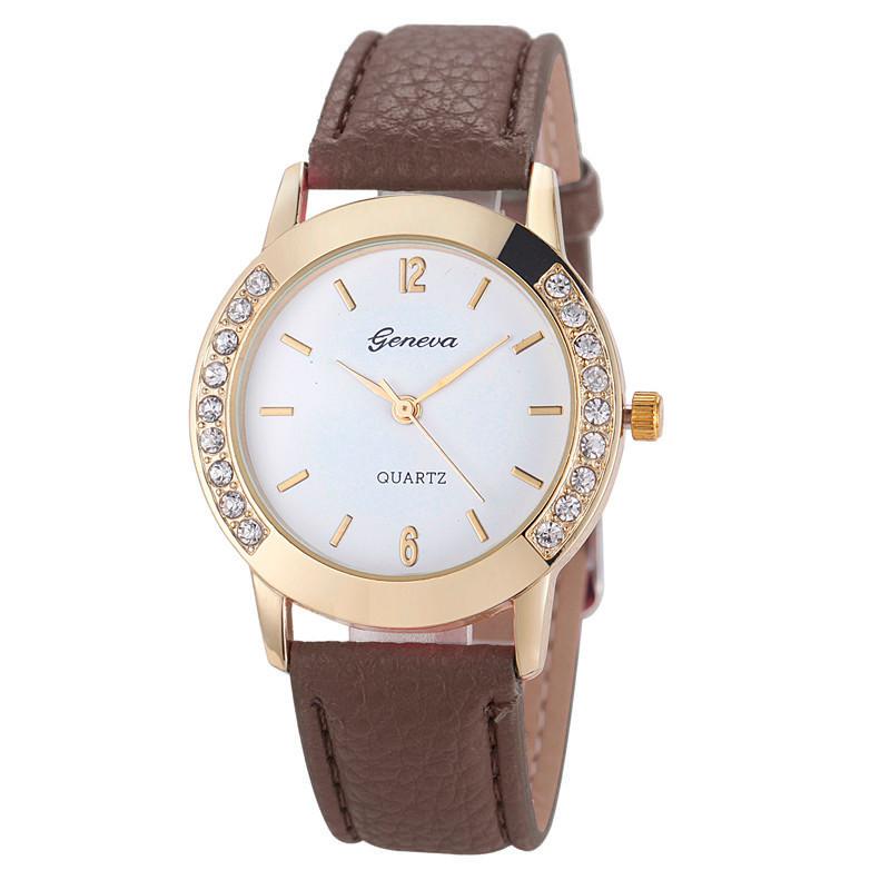 Женские часы Geneva Diamond коричневые