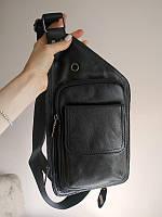 Кожаная сумка из матовой кожи черная