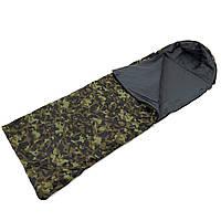Спальный мешок (спальник) одеяло с капюшоном и флисом Осень-Весна OSPORT Tourist Medium Камуфляж (ty-0013)