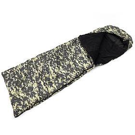 Спальный мешок (спальник) одеяло с капюшоном и флисом Осень-Весна OSPORT Tourist Medium Камуфляж Пиксель