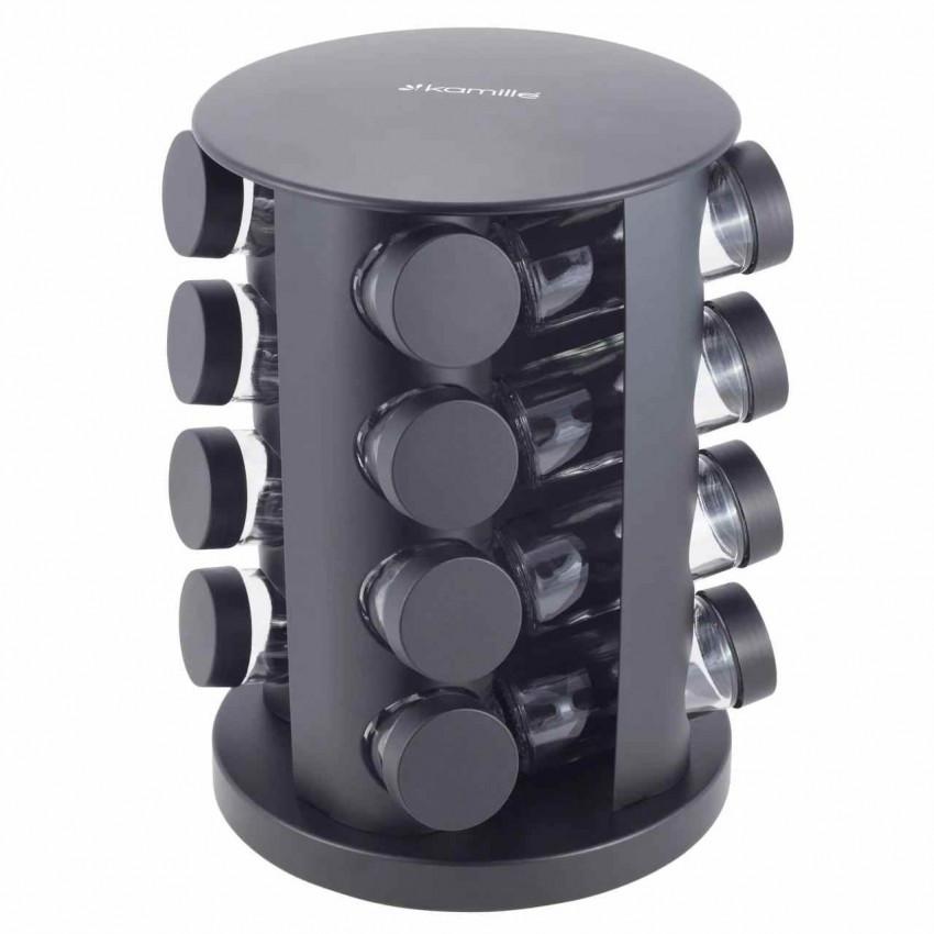 Набор ёмкостей для специй 16 шт на круглой черной подставке Kamille КМ-7046