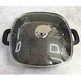 Сотейник Kasian Brown 28 х 28 х 7 см с мраморным покрытием Wellberg WB-3331, фото 2