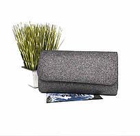 Вечірня сумочка клатч тканина т. срібло Арт.509(85-9)Ls Туреччина