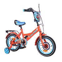 """Детский велосипед TILLY Vroom 14"""" red+blue, надувные резиновые колеса, T-214212/1"""