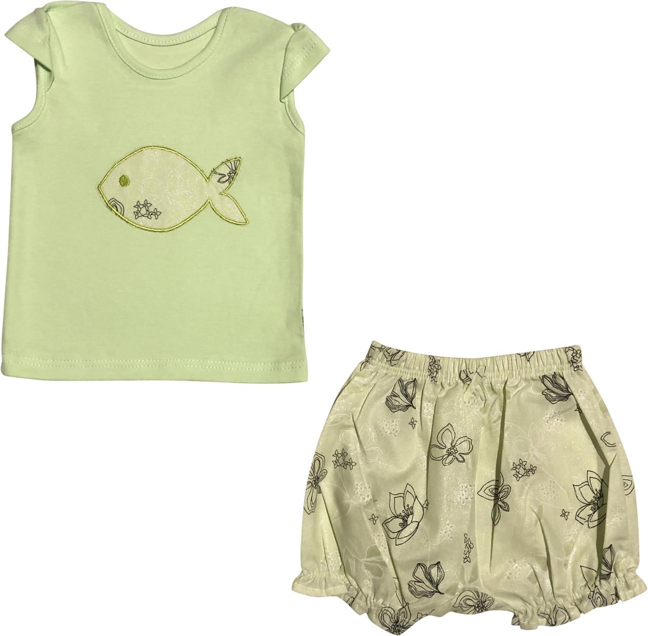 Літній костюм на дівчинку ріст 68 3-6 міс для новонароджених комплект футболка і шорти дитячий літо салатовий