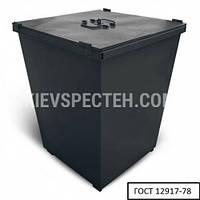 Бак металлический для ТБО, с крышкой V-750 л, черный
