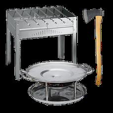 Наборы шампуров, мангалы, топоры, ножи, саджи