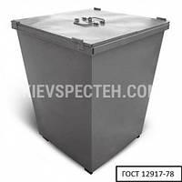 Бак металлический для ТБО с крышкой 750 л, серый