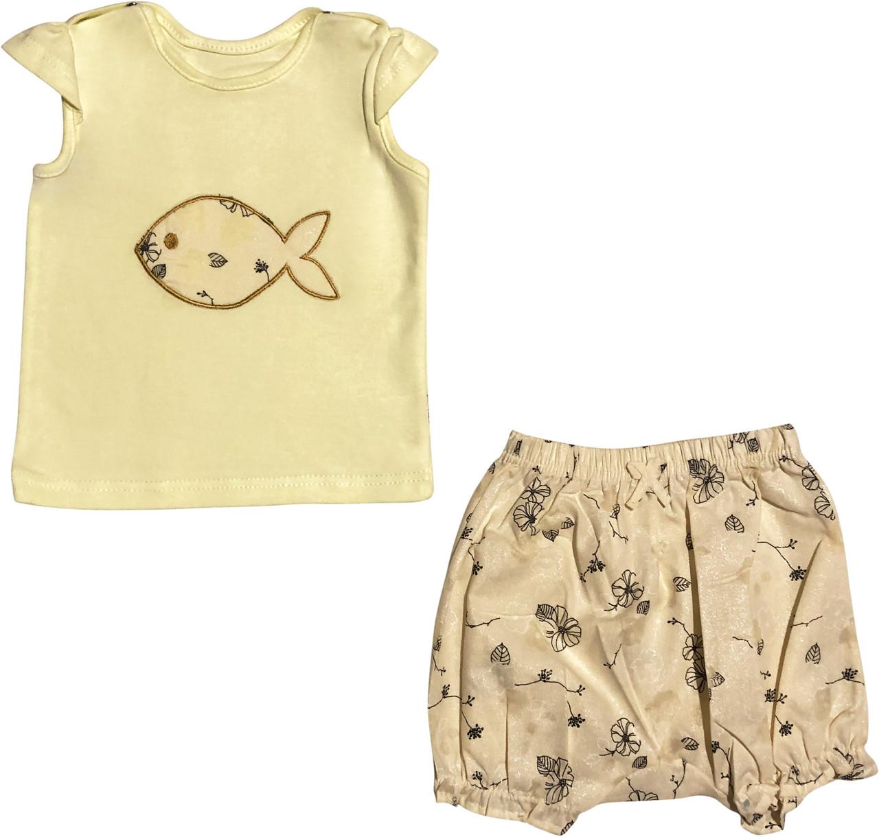 Літній костюм на дівчинку зріст 74 6-9 міс для новонароджених комплект футболка і шорти дитячий літо жовтий