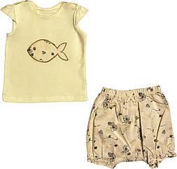 Літній костюм на дівчинку ріст 74 6-9 міс для новонароджених комплект футболка і шорти дитячий літо жовтий