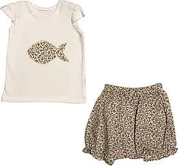 Летний костюм на девочку рост 74 6-9 мес для новорожденных комплект футболка и шорты детский лето молочный
